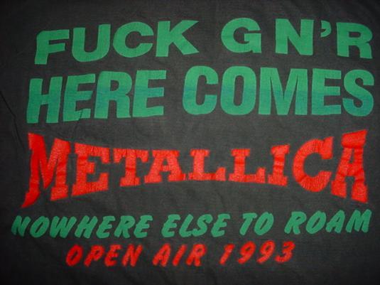 Vintage Metallica F*CK GNR T-Shirt Guns Roses Open Air Roam