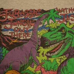 Vintage Jurassic Jungle Jesus Park John 16:33 T-Shirt L