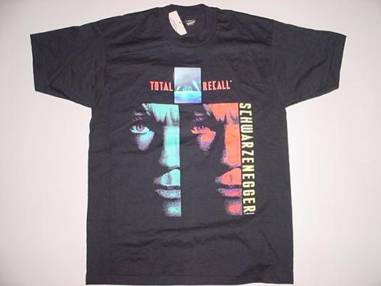 Vintage Total Recall T-Shirt Hologram Schwarzenegger L/M