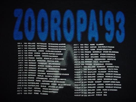 Vintage U2 T-Shirt Zoo Tv Zooropa 1993 XL