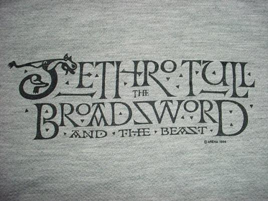 Vintage 1984 Jethro Tull Broadsword Jersey Sweatshirt M