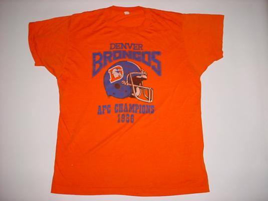 Vintage Denver Broncos AFC Champions T-Shirt 1986 M/L