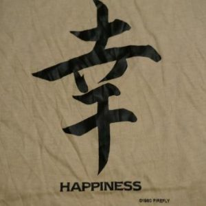 Vintage Chinese Letters HAPPINESS T-Shirt S