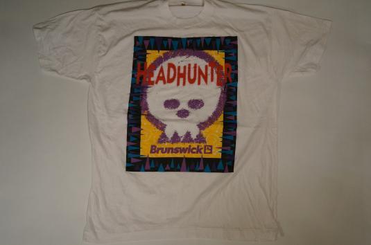 Vintage BRUNSWICK BILLIARDS HEADHUNTER T-Shirt Skull L/XL