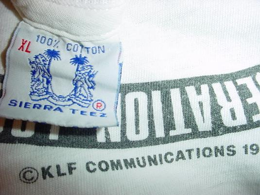 Vintage The KLF T-Shirt Jams Timelords 1991 XL