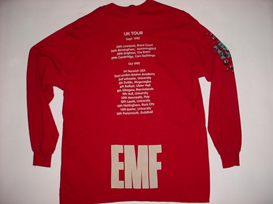 Vintage EMF T-Shirt Epsom Mad Funkers UK Tour 1992 XL