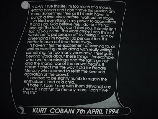 Vintage Nirvana T-Shirt Teen Spirit Kurt Cobain Dead M/L