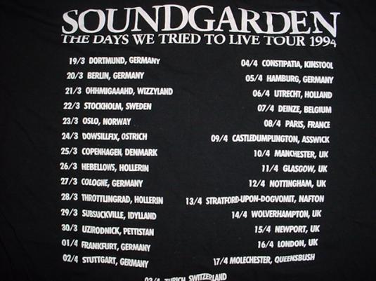 Vintage Soundgarden T-Shirt The Days Tour 94 Superunknown L