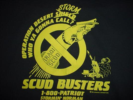 Vintage Dessert Storm Scud Busters T-Shirt George Bush L