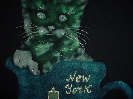 Vintage New York T-Shirt Cat Gold Glitter Raised Print M