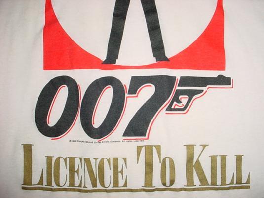 Vintage James Bond T-Shirt Licence To Kill Timothy Dalton M