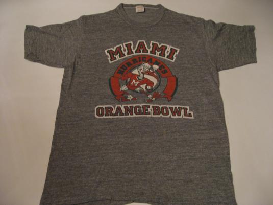 Vintage Miami Hurricanes RAYON T-Shirt Sebastian Orange Bowl