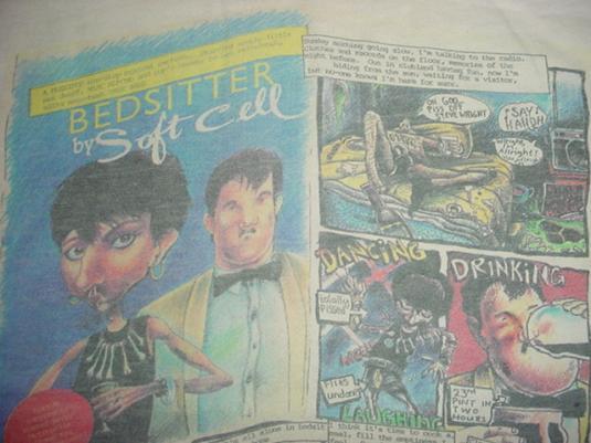 Vintage Soft Cell Bedsitter T-Shirt Comic Marc Almond XL