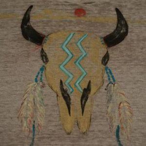 Vintage Native American Indian Art/Print Bull Skull T-Shirt