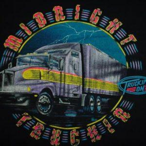 Vintage Midnight Truckin T-Shirt Trucker Truck Dansville L
