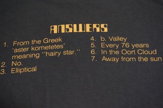 Vintage OFFICIAL COMET QUIZ HALLEY T-Shirt M/L
