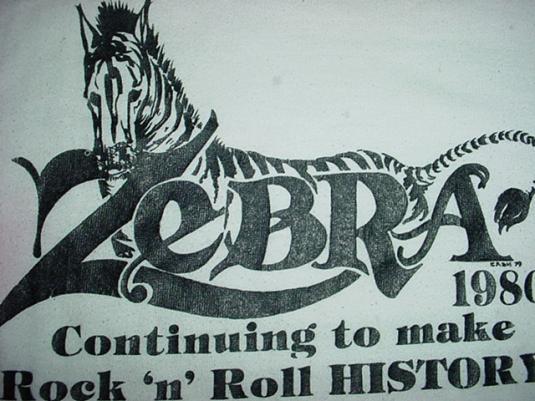 Vintage Zebra T-Shirt 1980 Jersey Rock History M/L