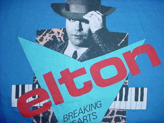 Vintage Elton John T-Shirt Breaking Hearts Tour M/L