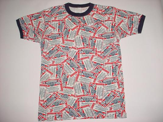 Vintage Budweiser T-Shirt Ringer 1970s Hawaiian bud print M