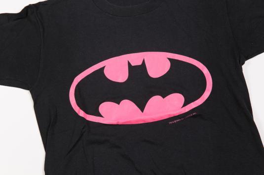 80'S BATMAN PINK LOGO SOFT THIN VINTAGE T-SHIRT