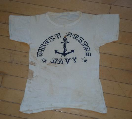 Vintage 1940s WWII Era United States Navy Uniform T-shirt