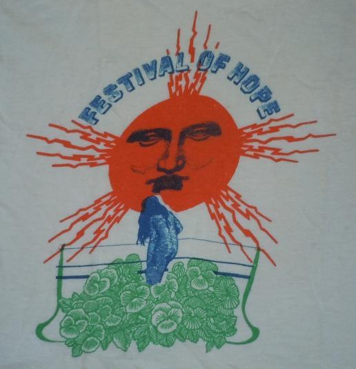 Vintage 1970's 70's 1972 Festival of Hope Rock Concert Shirt