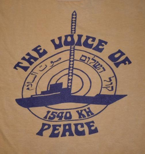 Vintage 1970s Voice Of Peace Middle East Radio Station Shirt