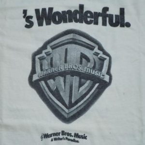 Vintage 1970's 70's Warner Brother Music Print 2SIDED Shirt