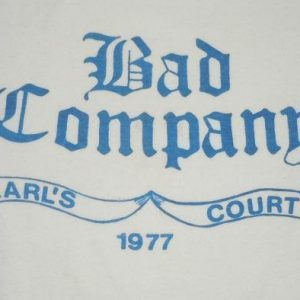 RareVintage 1977 Bad Company Earl's Court Rock Concert Shirt