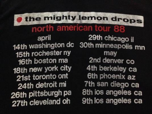 Vintage 1988 The Mighty Lemon Drops Shoegaze Indie T-Shirt