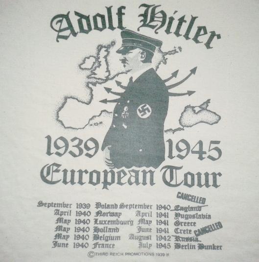 VINTAGE ADOLF HITLER NAZI EURO TOUR T-SHIRT