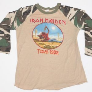 Vintage Iron Maiden Tour Shirt Camo 1982 Texas Event Concert