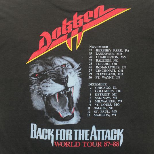 VINTAGE DOKKEN BACK FOR THE ATTACK 87 TOUR SHIRT 80S LARGE