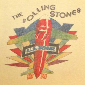 VINTAGE ROLLING STONES 1975 CONCERT T-SHIRT ORIGINAL 70s S