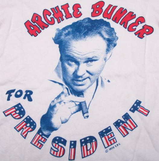 VINTAGE ARCHIE BUNKER T-SHIRT ALL IN THE FAMILY 1972 70S S