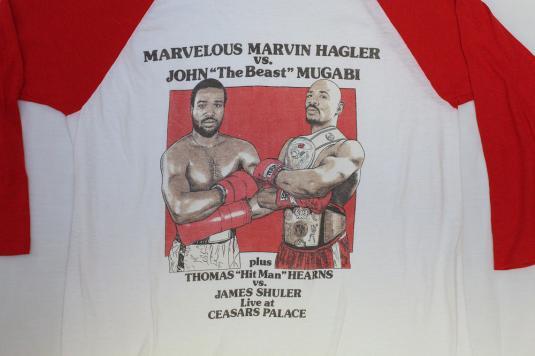 VINTAGE MARVIN HAGLER VS MUGABI BOXING T-SHIRT M