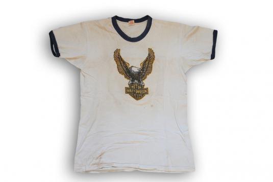 Vintage Harley Davidson Ringer T-shirt 1970s Tee Eagle