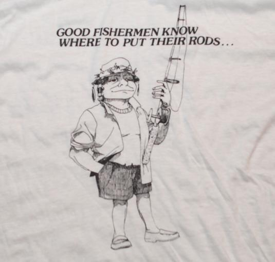 VINTAGE HUMOR FISHERMAN OUTDOORS RINGER SHIRT L