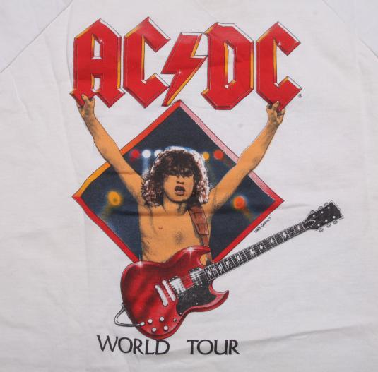 VINTAGE ACDC 1983 WORLD TOUR ORIGINAL SLEEVELES SWEATSHIRT L
