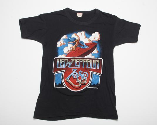 VINTAGE LED ZEPPELIN T-SHIRT 1970s TOUR CONCERT TEE 70S S/M
