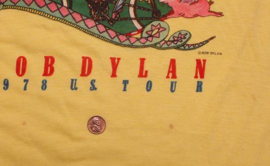 VINTAGE BOB DYLAN T-SHIRT 1978 US TOUR S/M ORIGINAL 70s