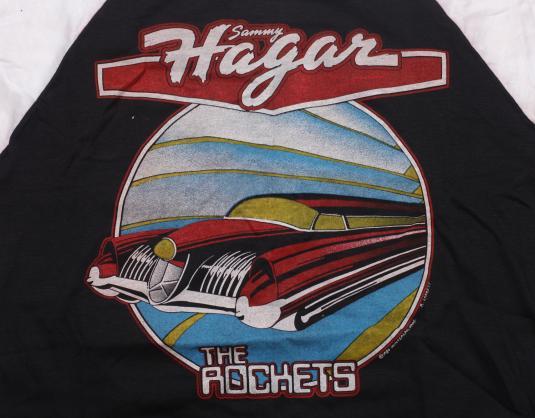 VINTAGE SAMMY HAGAR T-SHIRT NEW YEARS 1980 RAGLAN ORIGINAL L