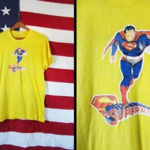 Vintage 80s Superman T-shirt Threadbare Yellow