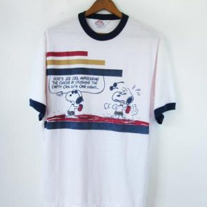 Vintage Snoopy Tshirt Joe Cool 60s Peanuts Ringer - Mens Me