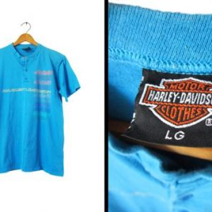 Vintage Harley Davidson Surf T-shirt Half Button Blue 90s