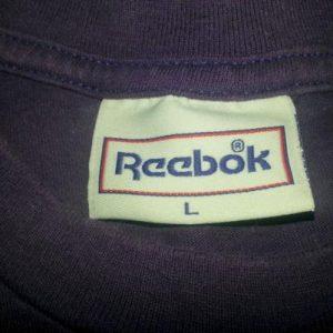 Vintage 90s Reebok Blacktop T-Shirt Purple Made in USA Sz L