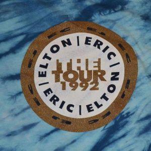Vintage 90s 1992 Elton John Eric Clapton T-Shirt Tie-Dye M-L