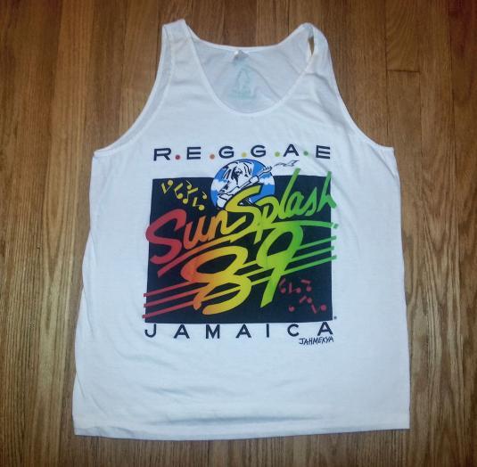 VTG80s REGGAE SUN SPLASH Tank Top T-Shirt Jamaica Music