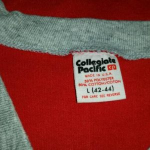 80s Bees BasketballV-Neck T-Shirt Collegiate Pacific Sz L