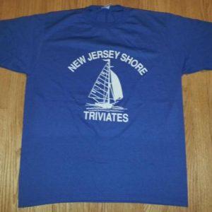 80s New Jersey Shore Triviates T-Shirt Sailboat Sailing Sz L